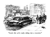 """Looks like we're really sliding into a recession."" - New Yorker Cartoon Premium Giclee Print by Robert Weber"