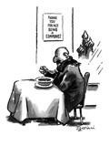 "Russian man in restaurant eats under a sign which reads ""Thank You For Not… - New Yorker Cartoon Premium Giclee Print by Eldon Dedini"