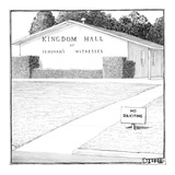 "A building marked, ""Kingdom Hall of Jehovah's Witnesses"" has a ""No Solicit… - New Yorker Cartoon Premium Giclee Print by Matthew Diffee"