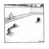 A T.V. replaces a rock in a monk's zen garden. - New Yorker Cartoon Premium Giclee Print by Matthew Diffee