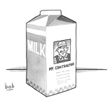 A carton of milk sits on a table with a photo of a contractor on the side  - New Yorker Cartoon Premium Giclee Print by Bob Eckstein