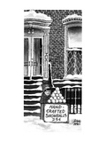 Little boy with stand 'Hand-crafted snowballs, 25cents'. - New Yorker Cartoon Premium Giclee Print by Joseph Farris