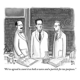 """We've agreed to count it as both a wave and a particle for tax purposes."" - New Yorker Cartoon Premium Giclee Print by Paul Noth"
