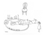 Little girl has tied her father to the railroad tracks of a toy train set. - New Yorker Cartoon Premium Giclee Print by Saul Steinberg