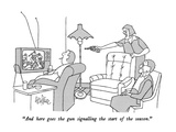 """And here goes the gun signalling the start of the season."" - New Yorker Cartoon Premium Giclee Print by George Price"