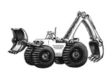 "Monster truck with shovels called ""Evironmental Adjustment Company"". - New Yorker Cartoon Premium Giclee Print by Eldon Dedini"