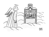 An angel is looking astonished at an International Herald Tribune machine … - New Yorker Cartoon Premium Giclee Print by Joseph Farris
