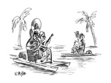 Couple on pedal boat, the man playing a tuba, the woman a banjo. - New Yorker Cartoon Premium Giclee Print by Warren Miller