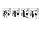 Arguing husband and wife stop yelling while their cat walks by. - New Yorker Cartoon Premium Giclee Print by Joseph Farris