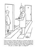 """Next question: I believe that life is a constant striving for balance, re…"" - New Yorker Cartoon Premium Giclee Print by George Price"