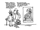 "Man to woman looking at a Picasso ""What a difference between Picasso's vie… - New Yorker Cartoon Premium Giclee Print by Lou Myers"