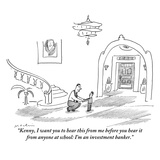 """Kenny, I want you to hear this from me before you hear it from anyone at …"" - New Yorker Cartoon Premium Giclee Print by Michael Maslin"