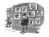 Beggar standing on corner with cup in hand and diplomas hanging on wall be… - New Yorker Cartoon Premium Giclee Print by Kenneth Mahood