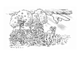 Under the angry finger of God, Adam and Eve leave the Garden of Eden, whic… - New Yorker Cartoon Premium Giclee Print by Bill Woodman