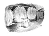 Monk in wine cellar plugging hole with his finger. - New Yorker Cartoon Premium Giclee Print by Joseph Farris