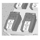 Pairs of jeans are seen with tags listing their current and former sizes. … - New Yorker Cartoon Premium Giclee Print by Kim Warp