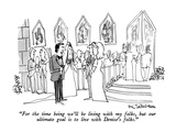 """For the time being we'll be living with my folks, but our ultimate goal i…"" - New Yorker Cartoon Premium Giclee Print by Eric Teitelbaum"