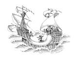 Men skate boarding on ship. - New Yorker Cartoon Premium Giclee Print by John O'brien