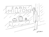 A man looking at a store sign, 'Earn Millions' over a display of a footbal… - New Yorker Cartoon Premium Giclee Print by Ed Arno