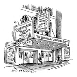 "A theater marquee advertises a show called ""Uncorrected Proof: The Musical"" - New Yorker Cartoon Premium Giclee Print by Tom Hachtman"