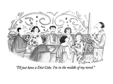 """I'll just have a Diet Coke.  I'm in the middle of my novel."" - New Yorker Cartoon Premium Giclee Print by Victoria Roberts"