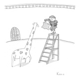 A matador on a ladder faces a giraffe. - New Yorker Cartoon Premium Giclee Print by Zachary Kanin
