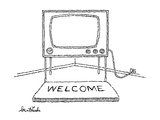 Welcome mat in front of television. - New Yorker Cartoon Regular Giclee Print by Stuart Leeds