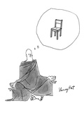 Robed Buddhist, meditating in yoga position, thinks of a chair. - New Yorker Cartoon Premium Giclee Print by Larry Hat