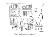 &quot;Daddy, can I stop being worried now&quot; - New Yorker Cartoon Premium Giclee Print by Liza Donnelly