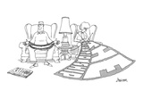 Woman knits a huge blanket that reads 'The Relationship' as he husband hol… - New Yorker Cartoon Premium Giclee Print by Jack Ziegler