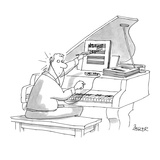 Pianist at piano writing sheet music while listening to his iPod. - Cartoon Giclee Print by Jack Ziegler