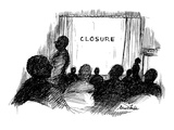 People leaving movie theatre, Instead of 'the end' it says 'closure.' - New Yorker Cartoon Regular Giclee Print by Stuart Leeds