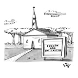 """FOLLOW GOD ON TWITTER""  - New Yorker Cartoon Premium Giclee Print by Farley Katz"
