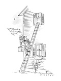 Man carrying woman down ladder to elope, sees teddy bear waving goodbye. - New Yorker Cartoon Premium Giclee Print by Bill Woodman