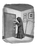 Grim Reaper locking his door with multiple lock systems. - New Yorker Cartoon Premium Giclee Print by Harry Bliss