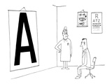 Patient reading giant eye chart in doctors office. - New Yorker Cartoon Impresso gicle premium por Saul Steinberg