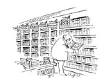 Man happily looking at a Cat book in the 'Cute Cats' section of a bookstore. - New Yorker Cartoon Premium Giclee Print by Sidney Harris