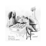 The chess player and the French pastry - New Yorker Cartoon Premium Giclee Print by I. Klein