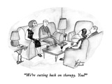 """We're cutting back on therapy.  You"" - New Yorker Cartoon Regular Giclee Print by Victoria Roberts"