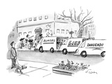 Man walking dog observes three media trucks, one reads, 'rumors,' one read… - New Yorker Cartoon Premium Giclee Print by Mike Twohy