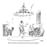 """Mrs. Porterhouse and her pianist have agreed to disagree."" - New Yorker Cartoon Premium Giclee Print by George Booth"