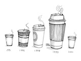 Take out coffee cup sizes become larger as the years progress, then small … - New Yorker Cartoon Premium Giclee Print by Steve Duenes