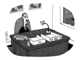 "Hip office worker, with goatee, with two boxes: one labeled ""In"" and the o… - New Yorker Cartoon Premium Giclee Print by J.C. Duffy"