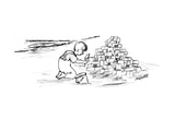 Child on beach is building Habitat '67 out of sand. - New Yorker Cartoon Premium Giclee Print by Peter Porges