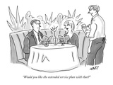 """Would you like the extended service plan with that"" - New Yorker Cartoon Premium Giclee Print by Kim Warp"