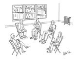 Man in group therapy session wears a t-shirt that reads 'I'm With Crazy' w… - New Yorker Cartoon Premium Giclee Print by Eric Lewis