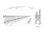 Drowning man waves arms in water; lifeguard has dived from his lookout cha… - New Yorker Cartoon Premium Giclee Print by Mike Twohy