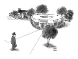Military official comes home to Pentagon-shaped house. - New Yorker Cartoon Premium Giclee Print by Joseph Farris