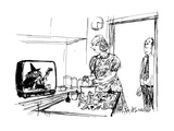 Man sees wife preparing food from witche's cooking show. - New Yorker Cartoon Premium Giclee Print by Joseph Mirachi
