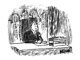 Man sitting at desk with in and out box labeled 'Works on Paper.' - New Yorker Cartoon Premium Giclee Print by Robert Weber